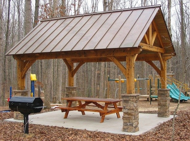 May contain: furniture, bench, and gazebo