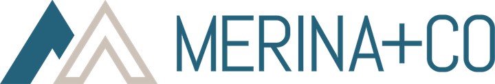 Merina+Co logo. Mountains. Teal text.