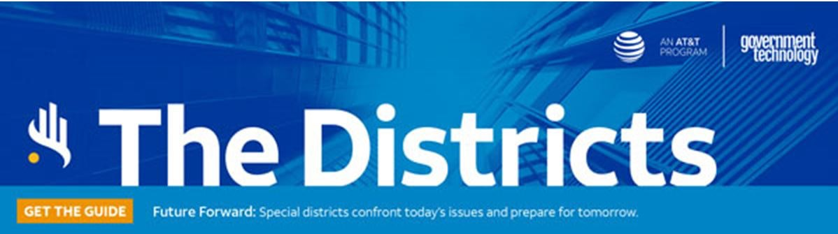 The Districts newsletter header, may include an icon of a hand, a building, and geometric designs