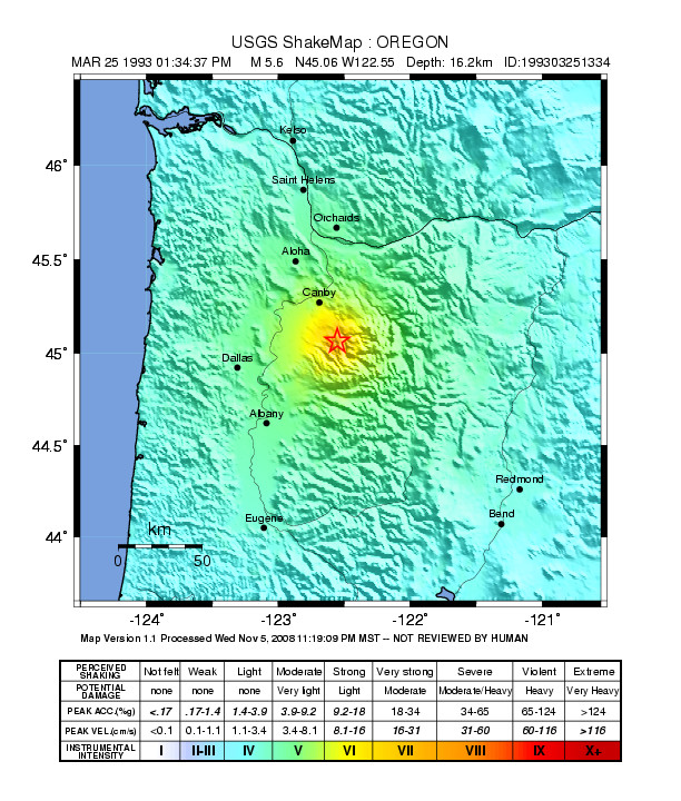 """May contain: plot, map, diagram, and atlas. Example of earthquake magnitude and shaking intensity from the 1993 Scotts Mills """"Spring Break Quake""""."""