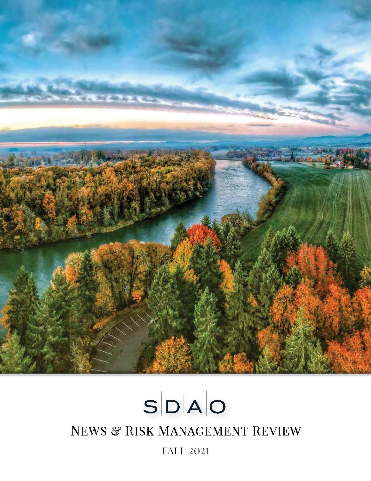 SDAO News & Risk Management Review Fall 2021. Image contains: scenery, nature, outdoors, landscape, panoramic, water, plant, aerial view, vegetation, land, and tree