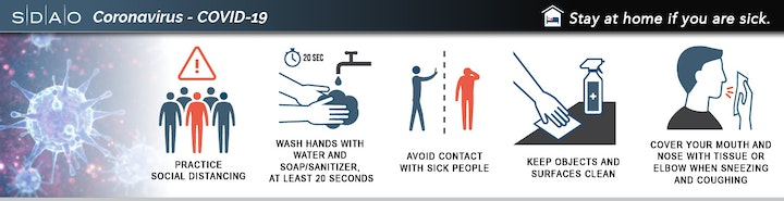 Banner image of COVID-19 social distancing advice and safety measures