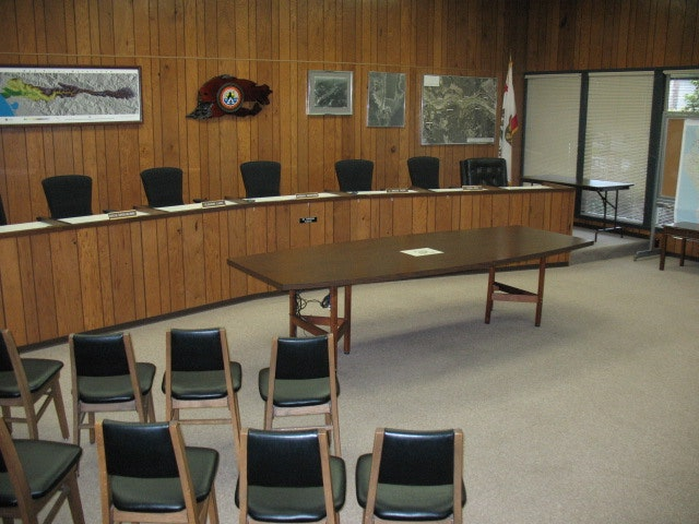 Board room with dais and chairs