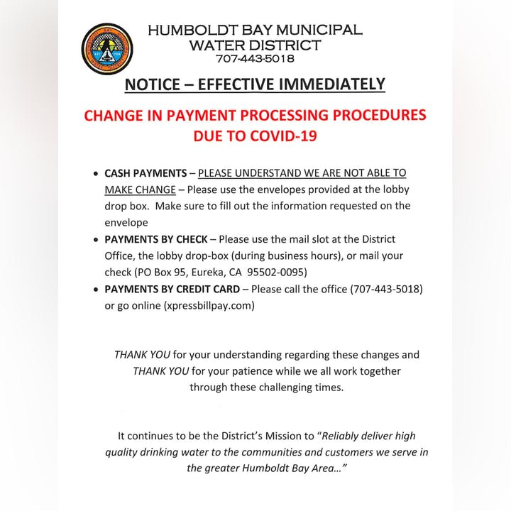Notice - of change in payment processing procedures due to Covid-19