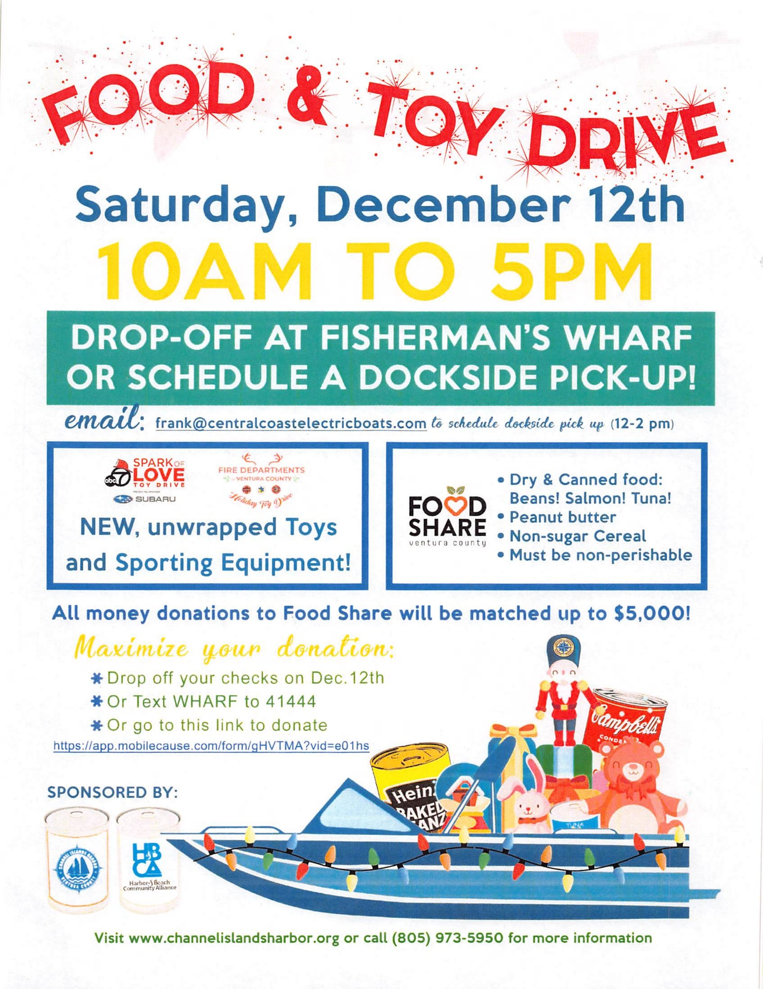 Food and Toy Drive 12-12-20 10am to 5pm