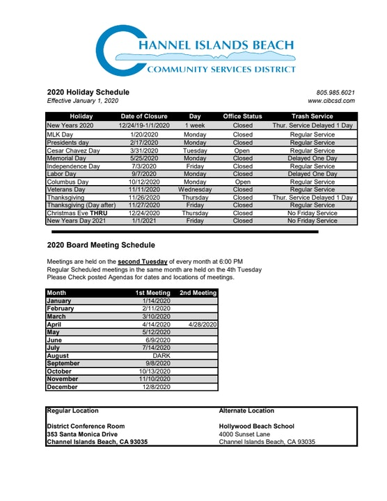 2020 Holiday and Board Meeting Schedule
