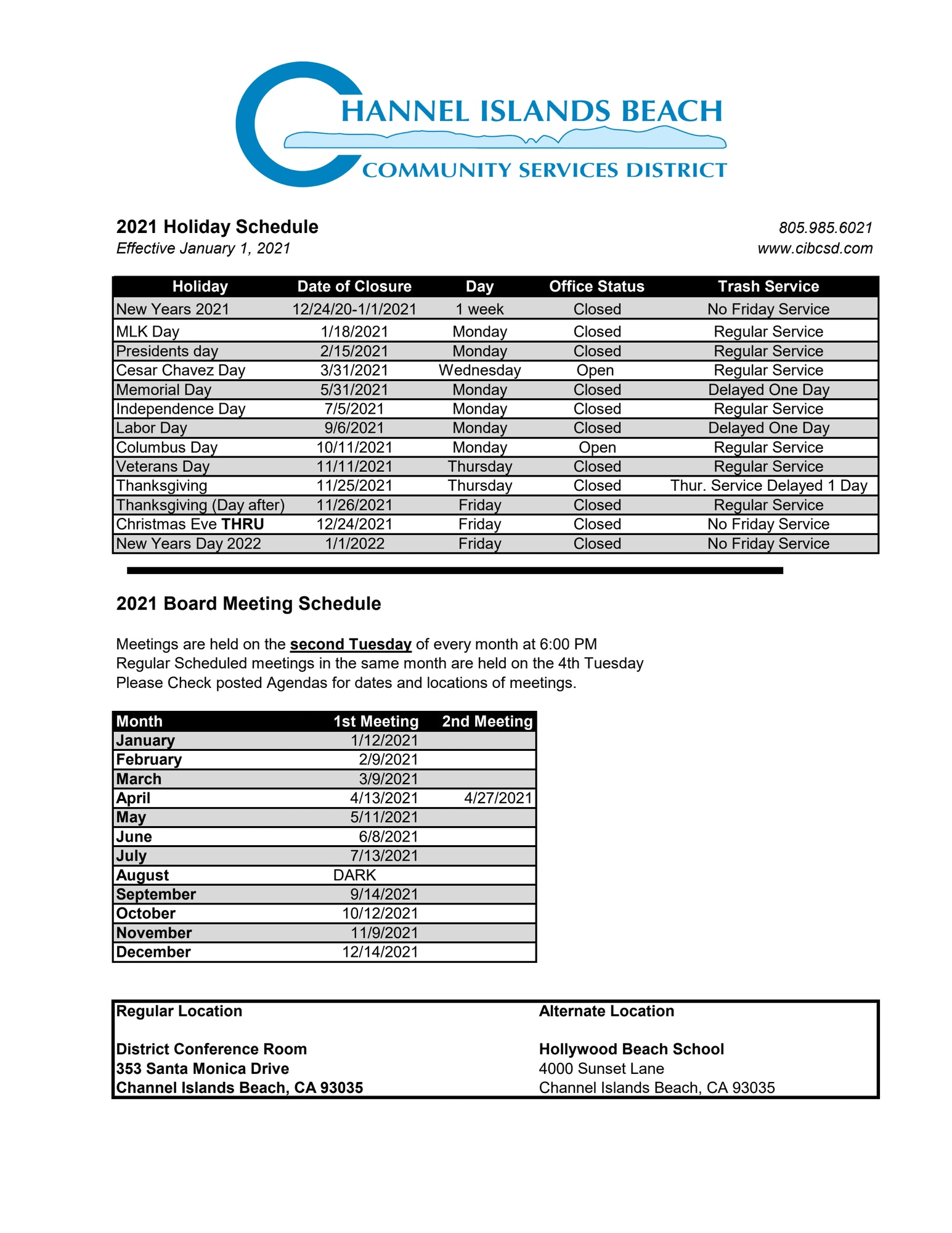 2021 Holiday and Board Meeting Schedule
