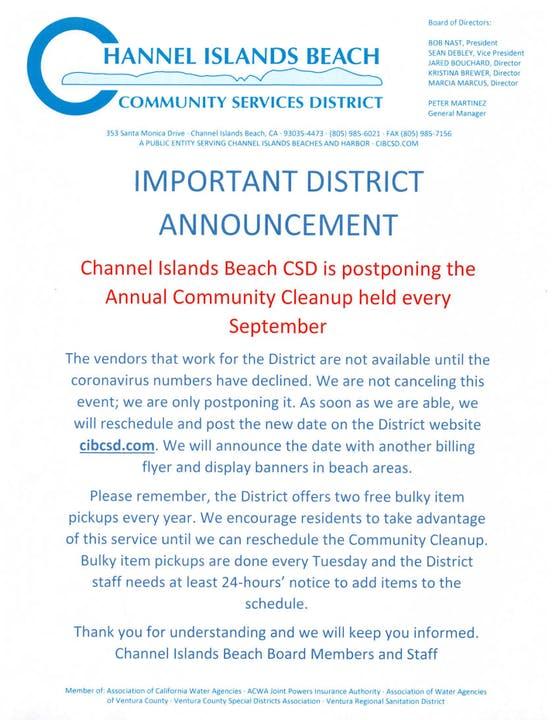 Community Cleanup is postponed