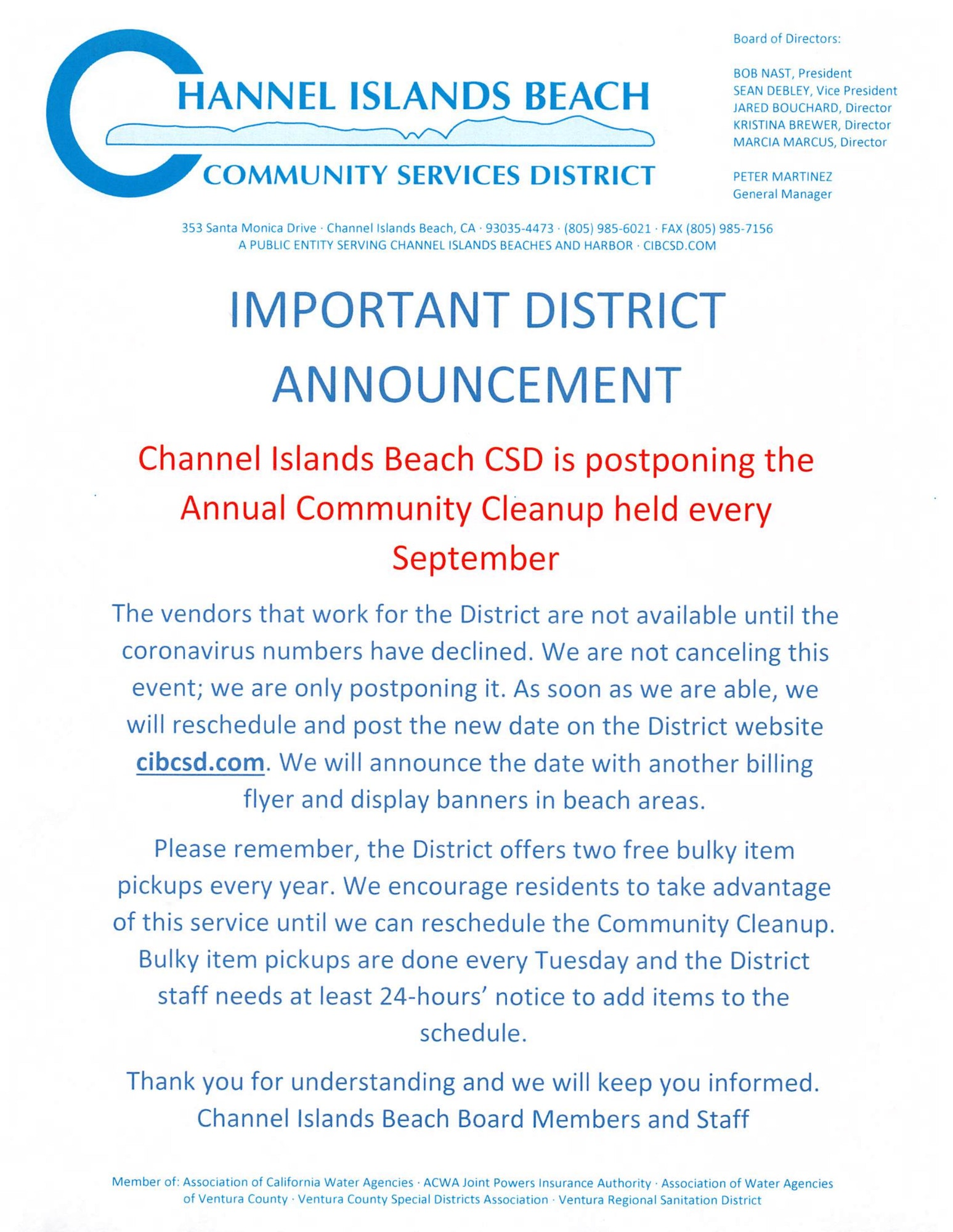 Community Cleanup is postponed