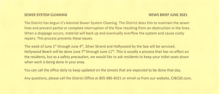 Sewer System Cleaning Information