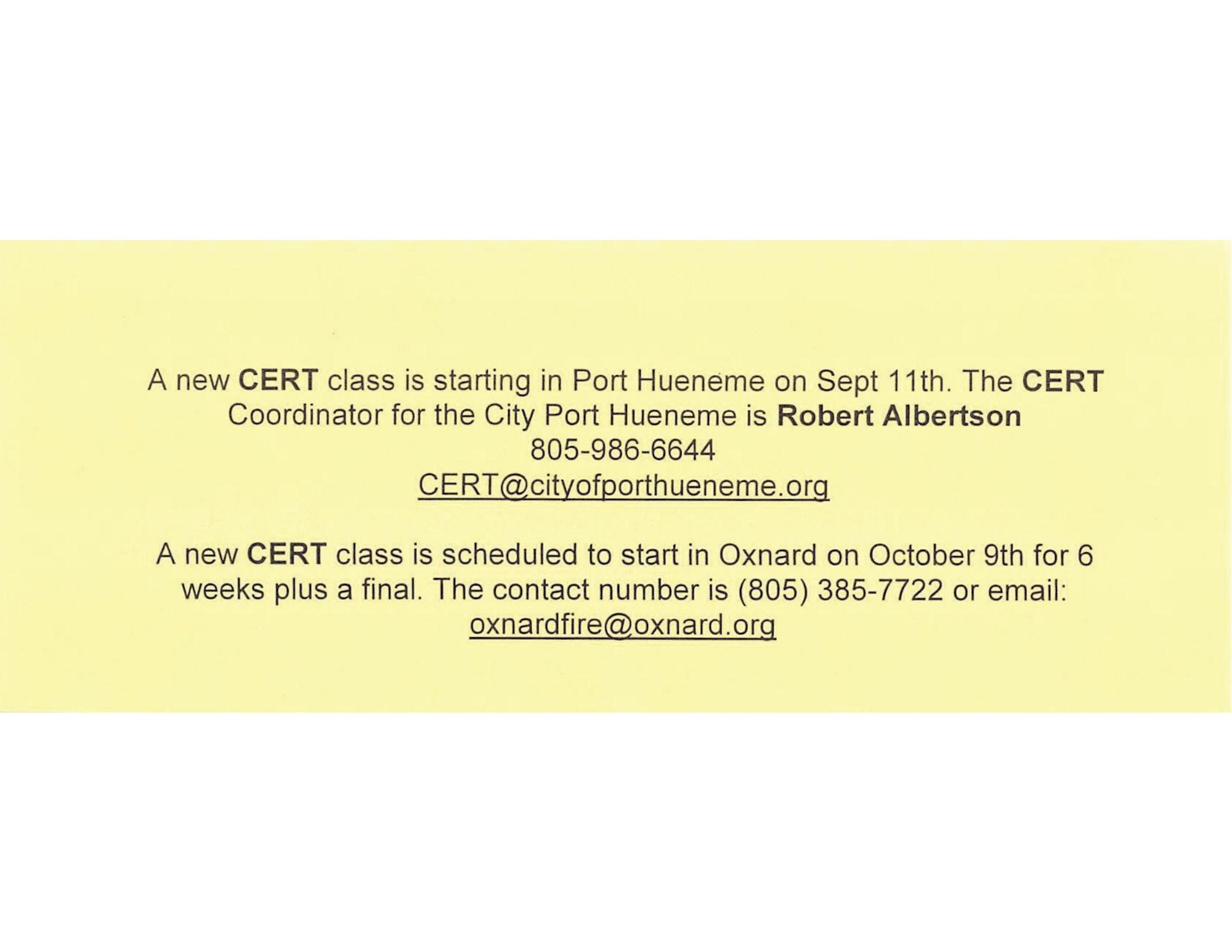 Cert Class Information