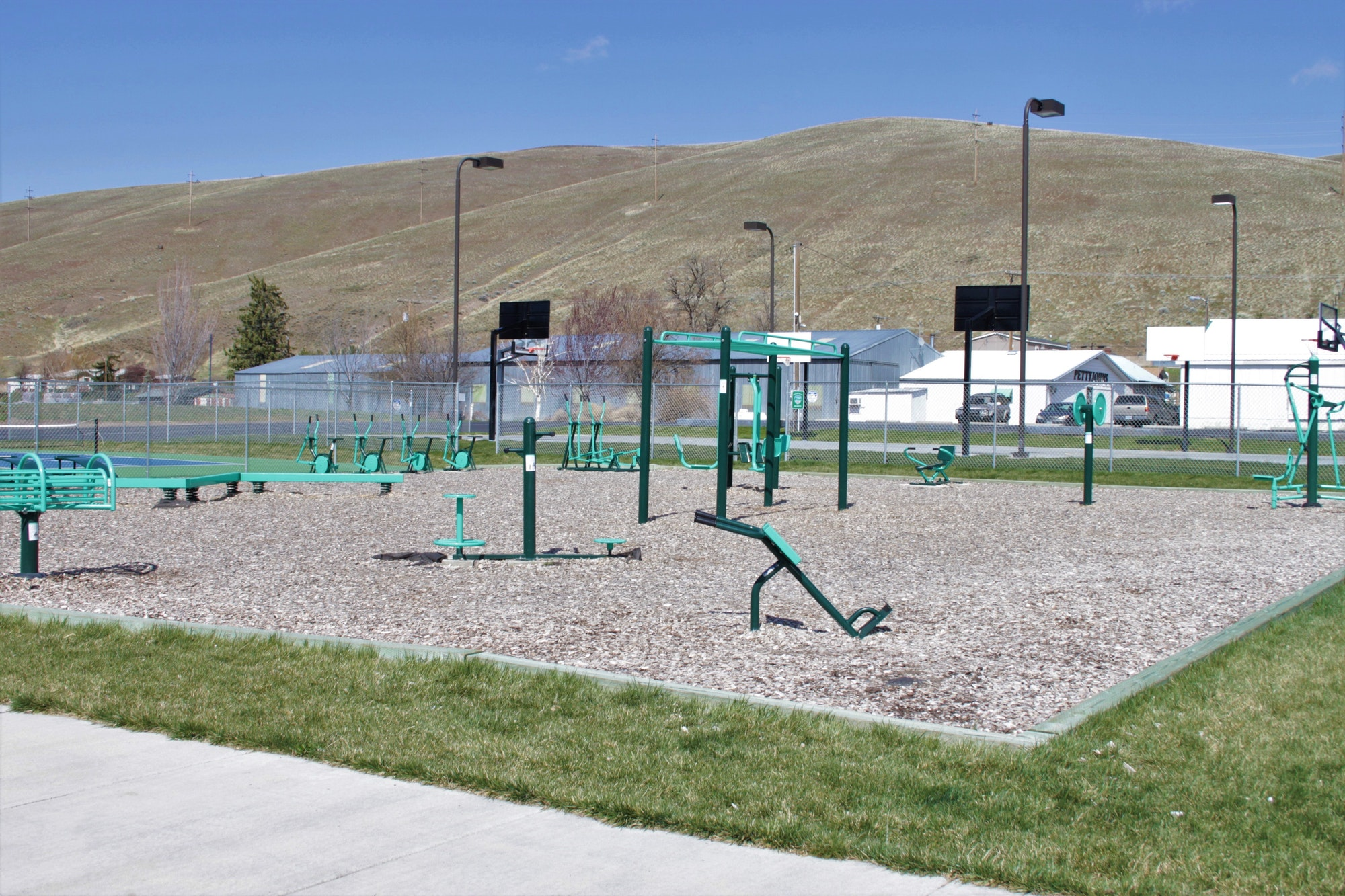 May contain: play area and playground fit park