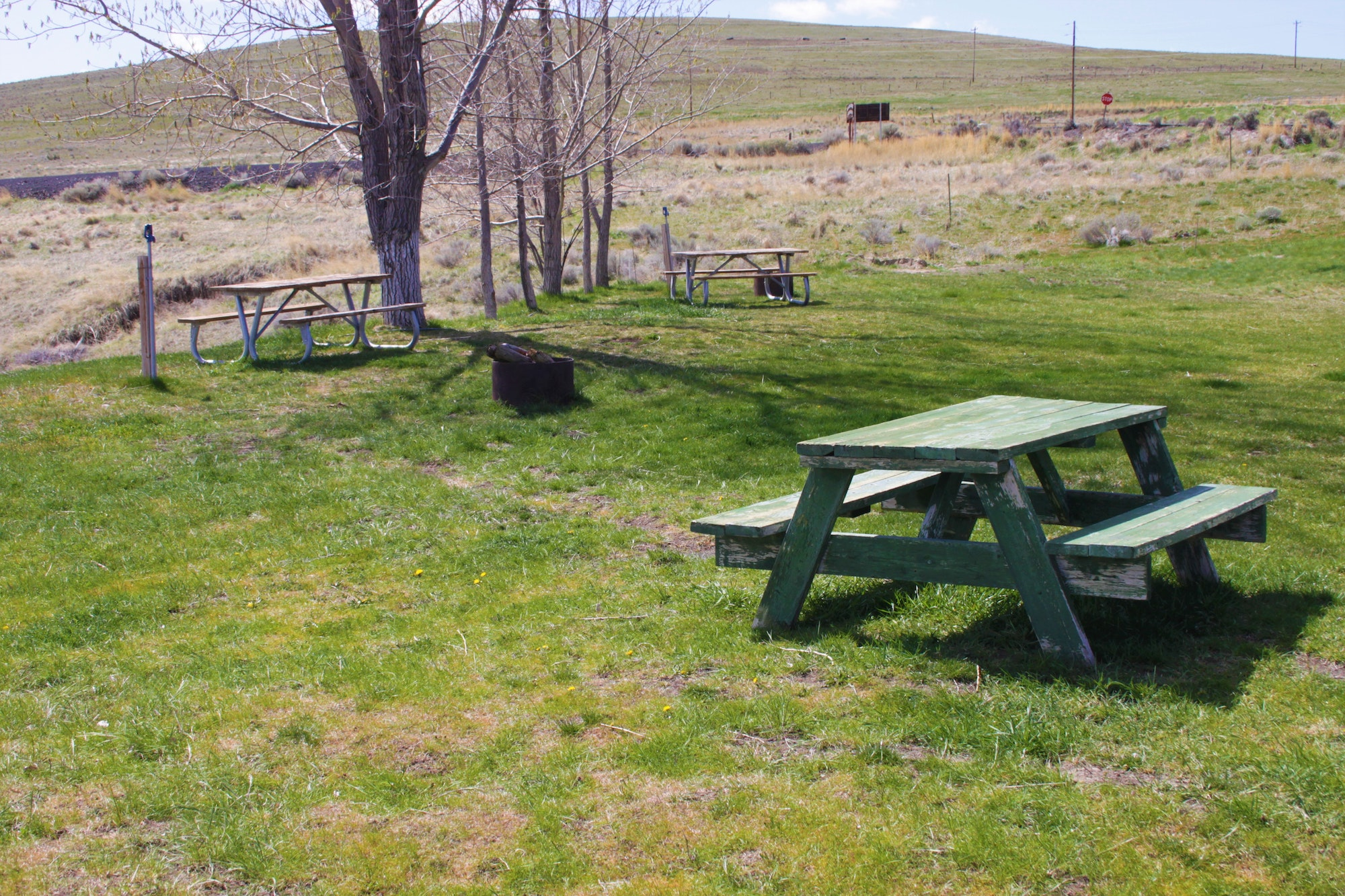 May contain: bench, furniture, grass, plant, outdoors, meal, food, field, and nature