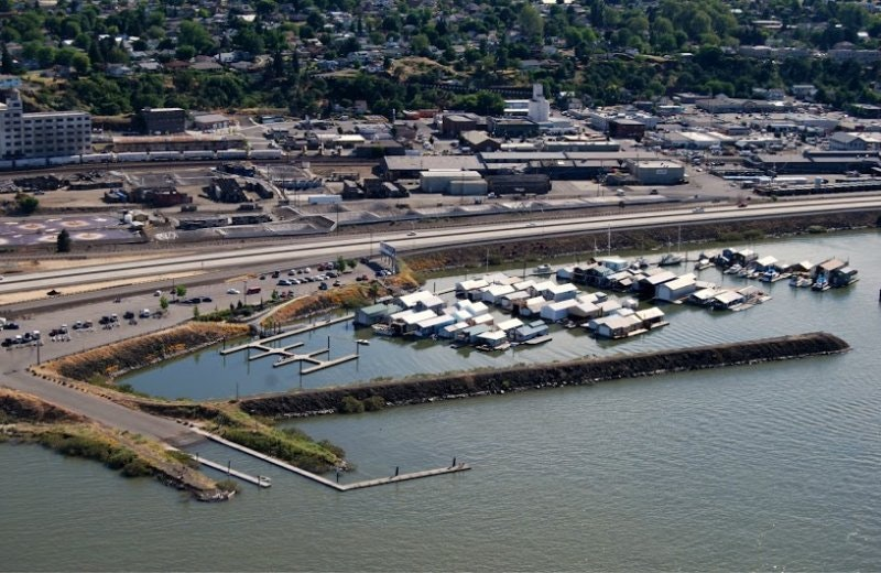 A photo of the port from the sky