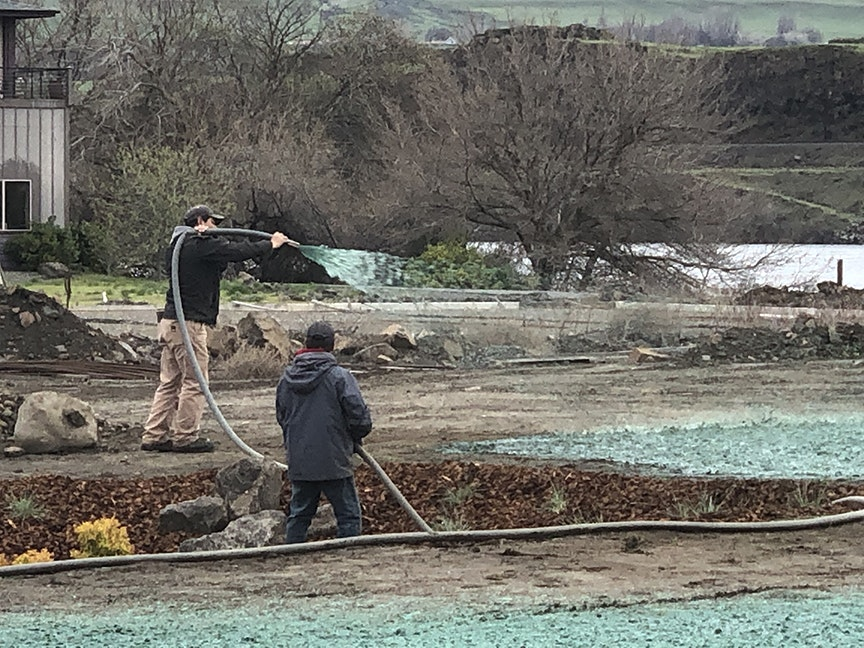 Workers from Jordan Chelsa Landscaping spray a hydro seeding mixture on the expansion area at Klindt Cove Kiwanis Park