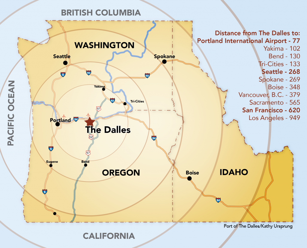 Northwest map distances from the Dalles