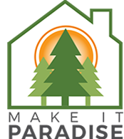 logo with trees and sun in paradise