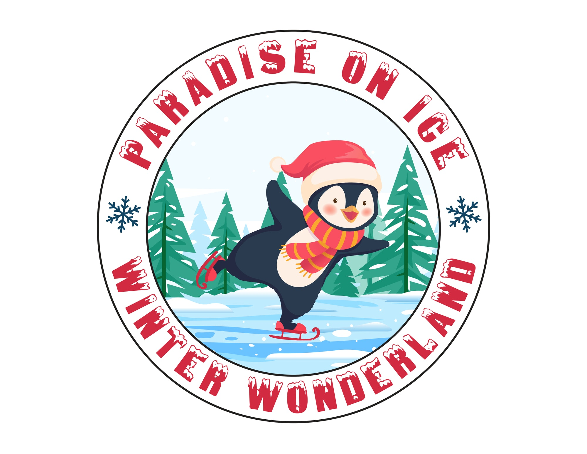Picture of Penguin ice skating on a pond with tall pines in the background