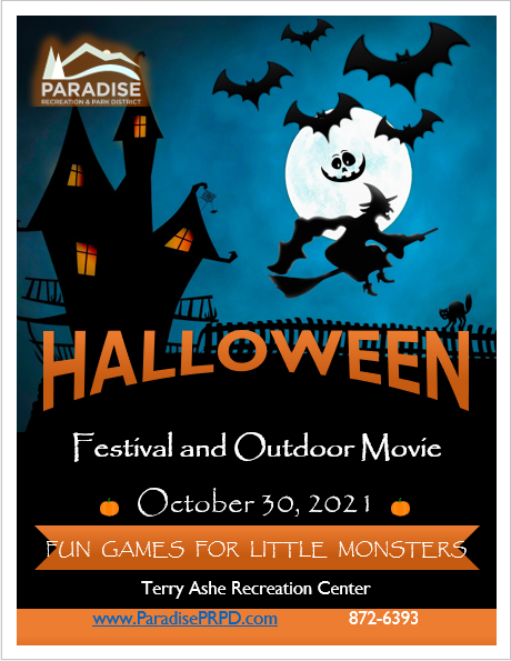 flier for PRPD Halloween event.  Contains an image of a black haunted house with orange windows, a full moon with a jack-o-lantern smiley face, black bat silhouettes, a which riding a broom silhouette, black cat with back arched standing on a picked fence.