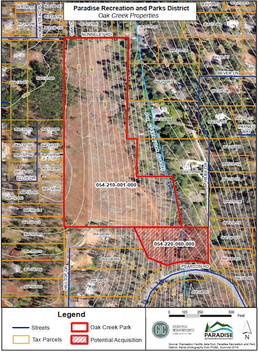 Satellite view of Oak Creek Park Property