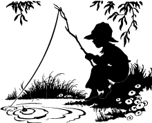 silhouette of child fishing with wooden pole in a pond