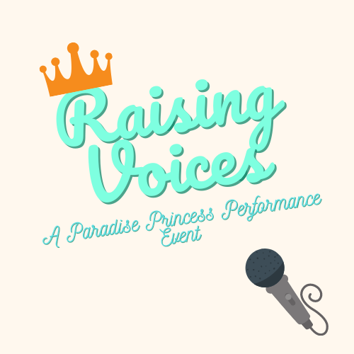 microphone underneath cursive font with a crown on it