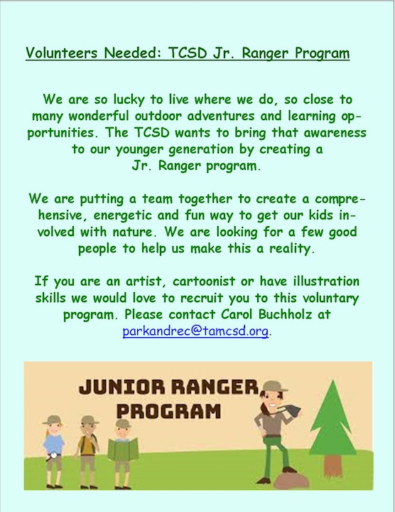 Flyer about Jr Ranger Program with cartoon like characters of people an tree.