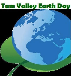 Picture of the earth on a leaf with text saying Tam Valley Earth Day.