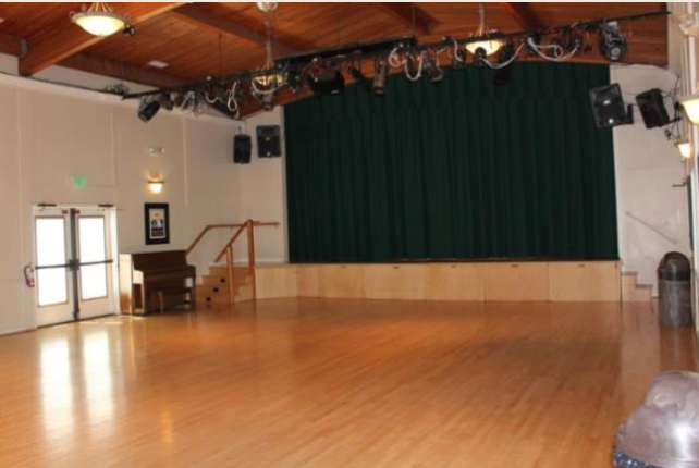 Picture of the inside of Tam Valley Community Center facing the stage.
