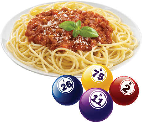 Picture of a plate of spaghetti with bingo balls around it.