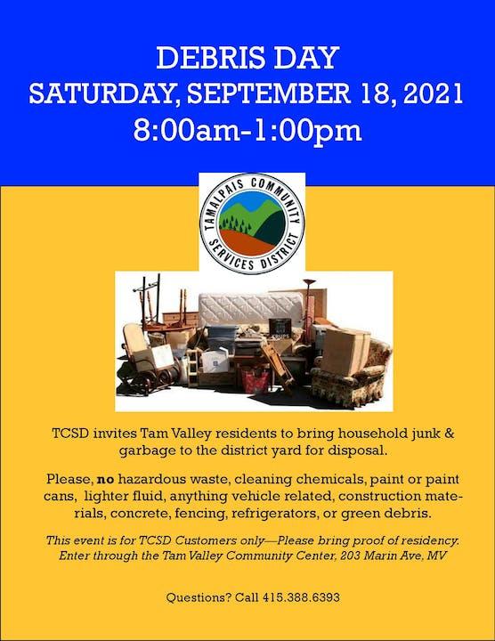 Debris Day, Saturday, Sept 18, 2021, 8am-1pm