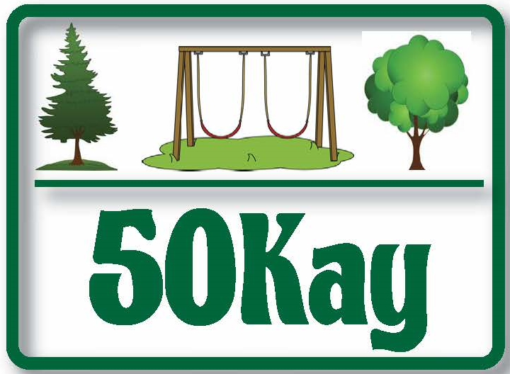 Logo for 50Kay fundraisers - with two trees and swing