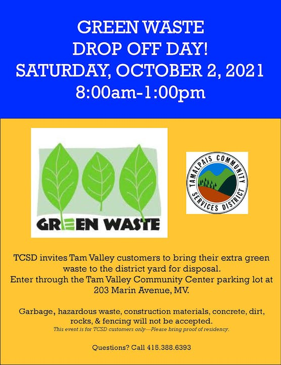 Green Waste Drop Off Day, Saturday, October 2, 2021, 8am-1pm