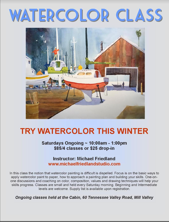 Picture of watercolor by teacher artist Michael Friedland and description of his watercolor classes taught at the Cabin every Saturday morning at 10am.