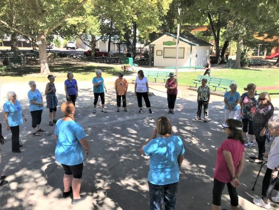 People doing Tai Chi in Murphys Park with Stay Vertical Calaveras