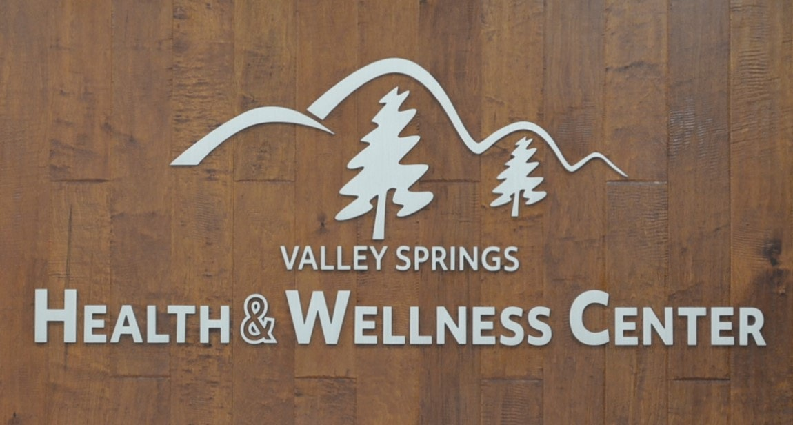 Sign in lobby of Valley Springs Health and Wellness Center