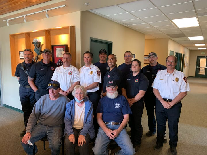 Fire Chief PJ Langmaid with members of Black Forest Fire Rescue and the board