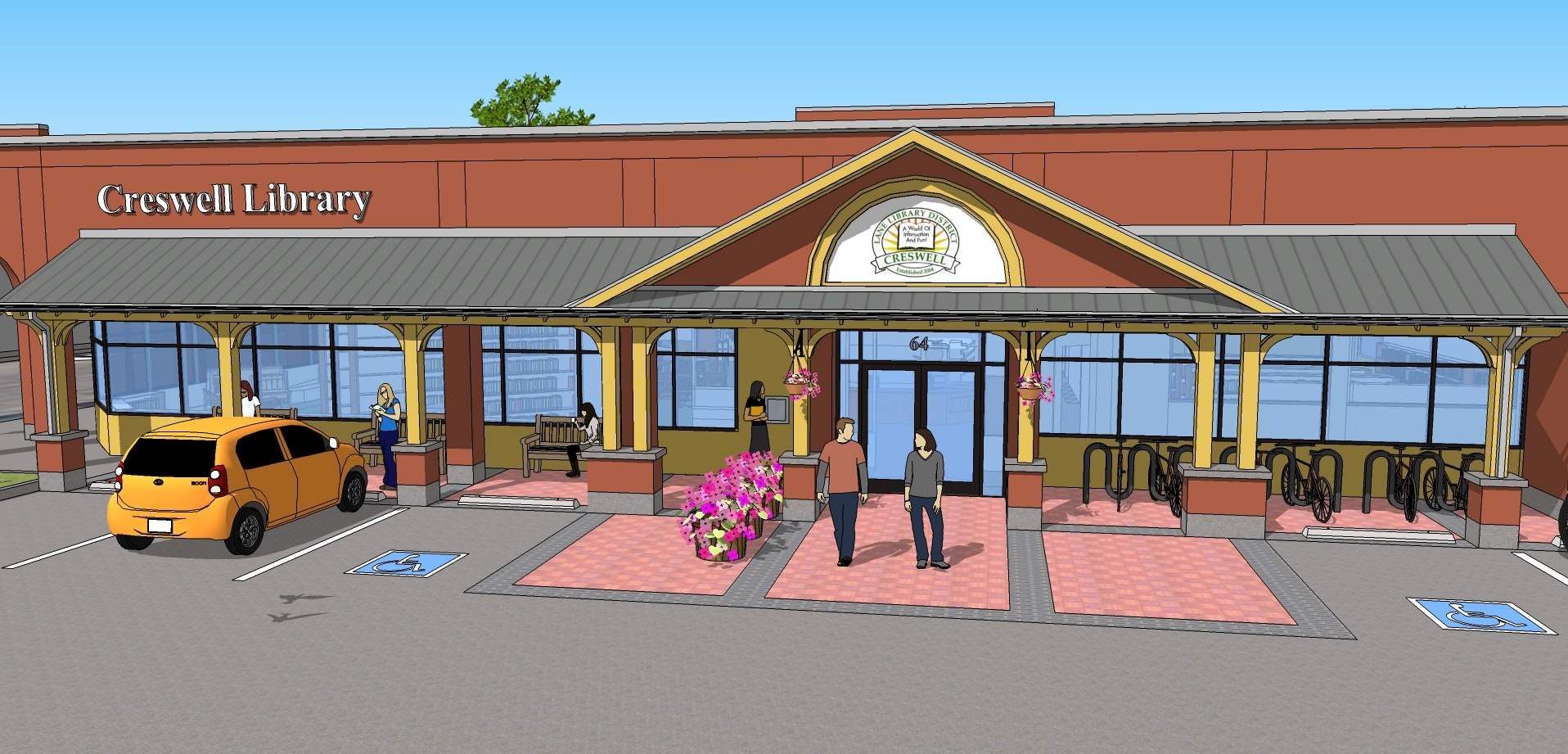 Proposed front entry of the library.