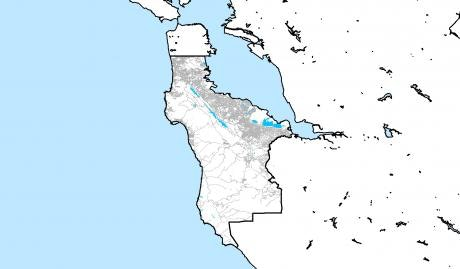 Map showing the outline of San Mateo County