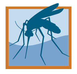 The District logo, which is a orange square with blue shading and has a darker blue mosquito outline in it