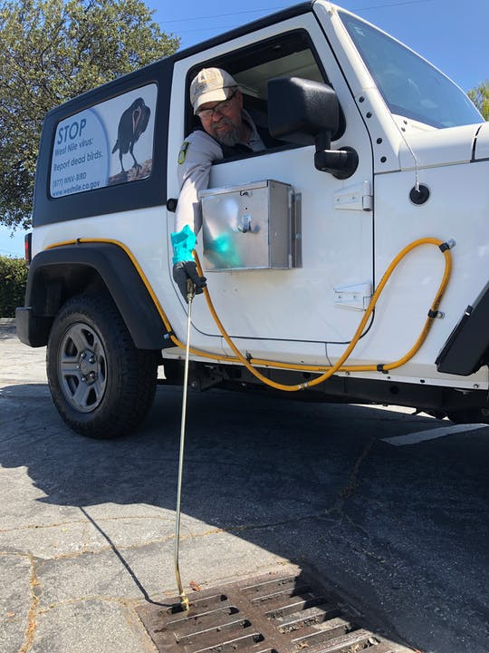 Person with hat, protective eyewear, and gloves, leaning out the right side of a white Jeep.  The person is holding a long 'wand' used to treat a catch basin.  The side window of the Jeep has a picture of a black bird and some text about reporting dead birds to the California West Nile virus dead bird hotline.