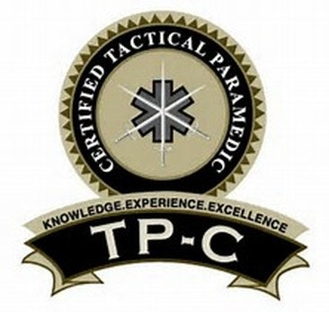 Certified Tactical Paramedic pin - round upper with banner rocker on bottom