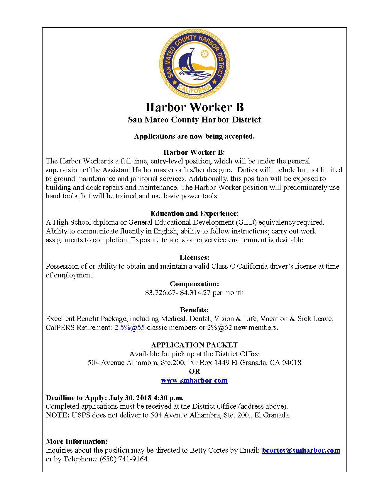 job posting harbor worker b application deadline july 30 2018