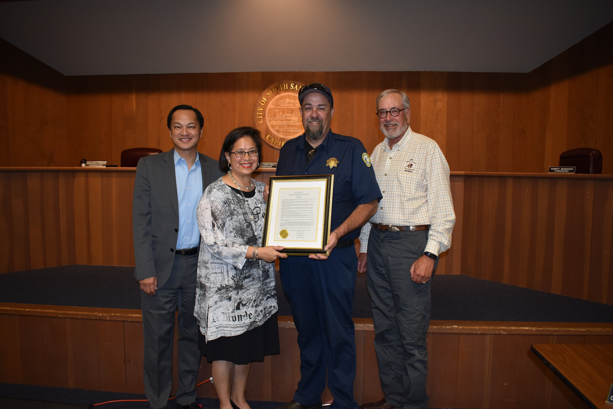 Commissioners with retiring Asst. Harbormaster John Draper