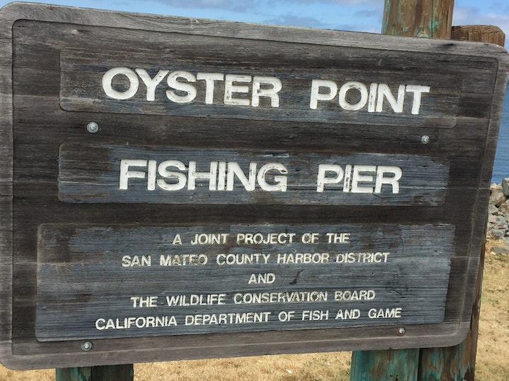Fishing Pier Sign at Oyster Point Marina