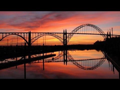 Yaquina Bay Bridge with colorful sunset