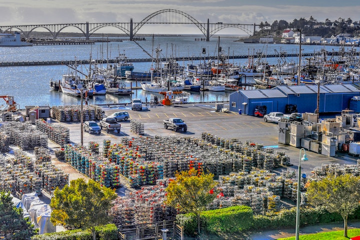 View of the Yaquina Bay Bridge looking over Commercial Dock