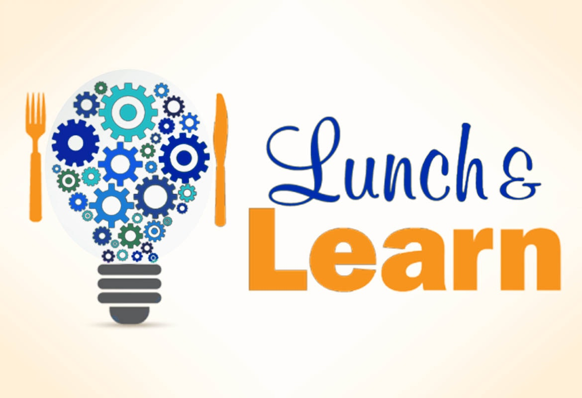 May contain: light bulb, fork, knife, and Lunch & Learn text
