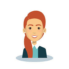 A cartoon graphic of a fair-skinned businesswoman