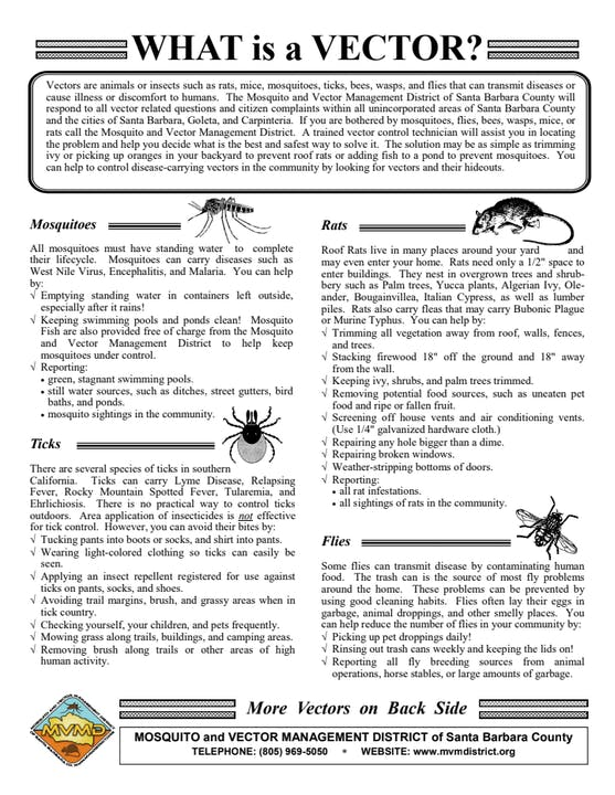 Cover of brochure which describes animals that vector diseases
